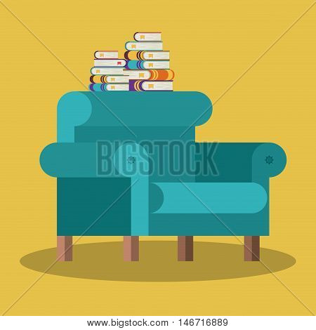 livingroom library books chair seat home literature learning knowledge icon. Colorful design. Vector illustration