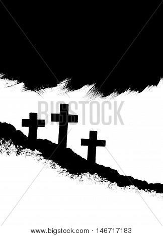 Three crosses on hillside symbolic of crucifixion of Christ, sacrifice, and redemption Christian stock illustration hand painted black and white with copy space.