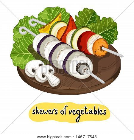 Grilled vegetables on cutting board isolated on white background vector illustration. Roasted veggie food. Assorted vegetables barbecue. Grilled vegetable icon. BBQ vegetable. Barbecue food concet.