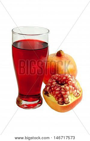 Pomegranate juice in a glass and fresh pomegranate fruit. Isolated on white background. objects with clipping paths.