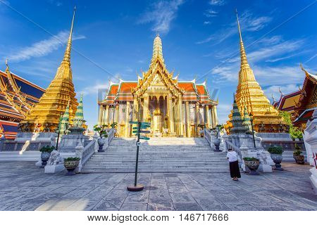 Wat Phra Kaew Temple of the Emerald Buddha Bangkok Thailand.