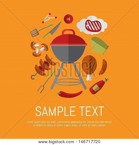 Vector illustration barbecue grill card. Sausages, sauce, ketchup, pepper, mushrooms, steak and grill tools around barbecue grill on orange background. Food banner. BBQ party invitation in flat style. BBQ kettle with barbecue icon.