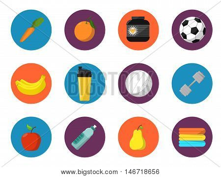 Sports and nutrition vector illustration, icons set. Protein shaker, nutrition container, dumbbell, ball, fruit, sports bottle, towels on white background. Different tools for sport.