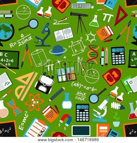 School, education and science background with seamless pattern of book, pen, blackboard, calculator, globe, computer, microscope, laboratory flask, telescope school bag DNA formula atom
