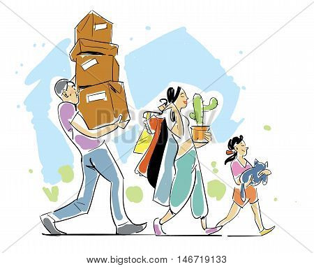Family moving home vector illustration. Moving home. People making a move a new home. Sketch on moving. Hand drawing. Moving concept. Moving boxes.