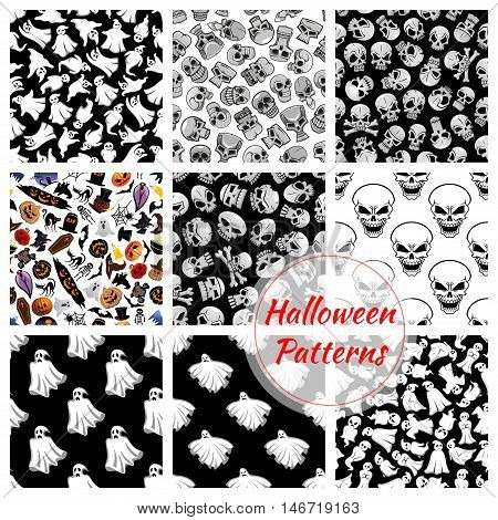 Halloween seamless decoration patterns set. Vector pattern of flying bed sheet ghosts, skulls with crossbones. Halloween celebration cartoon symbols of coffin, pumpkin with candle, witch and black cats