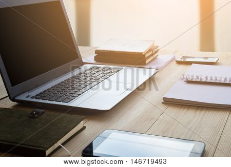 Business accessory. Laptop and smart phone for working business project. You can apply for business background,business backdrop and business wallpaper and everything about business background for your design