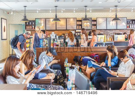 Bangkok Thailand- FEB 22 2016: Starbucks Cafe interior. Starbucks Corporation is an American global coffee company and coffeehouse chain based in Seattle Washington