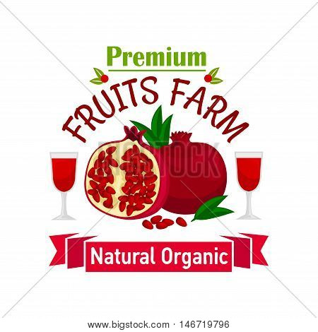 Fruits farm symbol with opened pomegranate fruit with red juicy seeds, flanked with fresh juice glasses and ribbon banner with text Natural Organic
