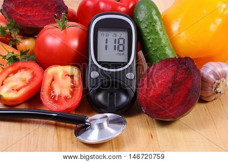 Vegetables, Glucose Meter And Stethoscope On Wooden Surface, Healthy Lifestyle, Nutrition, Diabetes