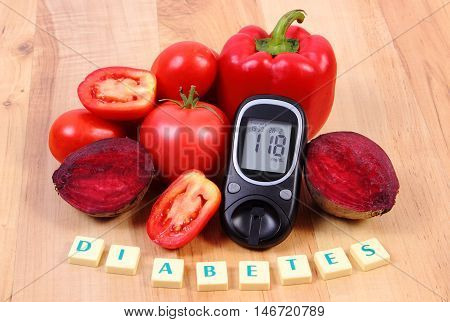Vegetables, Glucometer And Word Diabetes On Wooden Surface, Healthy Lifestyle And Nutrition