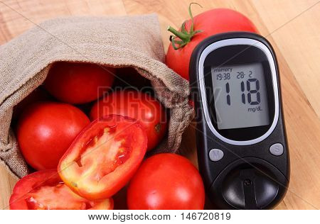 Tomatoes In Jute Bag And Glucometer On Wooden Surface, Healthy Lifestyle And Nutrition