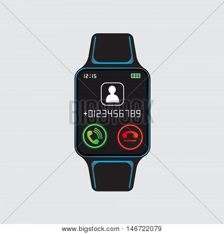 Black smart watch with incoming call pictogram. Smart watch logo. Isolated smart watch sign. Smart watch vector eps10 design icon.