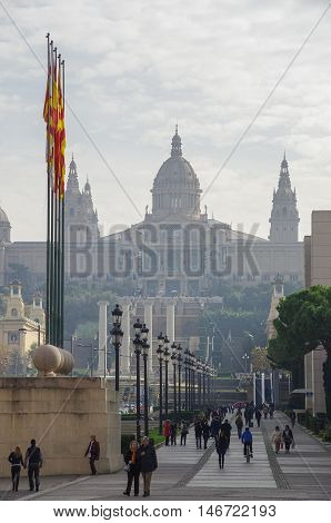 Barcelona, Spain -June 14, 2010: View to National Art Museum of Catalonia - MNAC from Placa Espanya