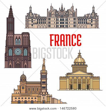Travel sights of France thin line icon with catholic basilica Notre-Dame de la Garde, gothic Rouen Cathedral, St. Peters Basilica and royal residence Chateau de Chambord