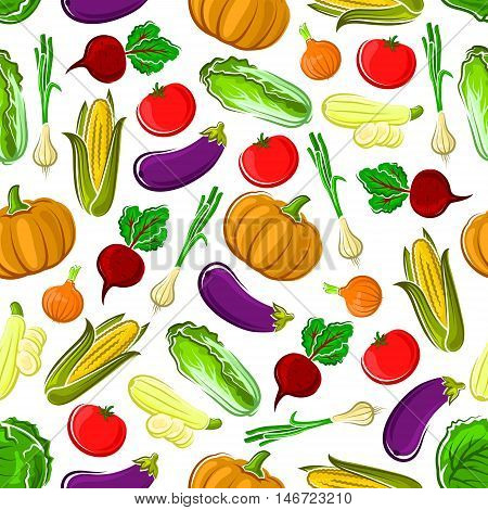 Ripe autumn vegetables seamless pattern background with tomato, onion, corn, eggplant, beet, zucchini, pumpkin and cabbage vegetables. Organic farming or agriculture themes design