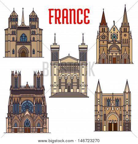 Travel landmarks of french gothic architecture icon with linear Church of Saint-Nizier, Basilique de Fourviere, Reims Cathedral, roman catholic Dijon Cathedral and Basilica of Saint Denis