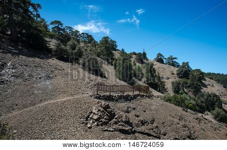 Nature trail at the of the hill Troodos mountain range in Cyprus