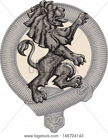 Heraldic lion and Belt. Vector illustration isolated grouped transparent background.