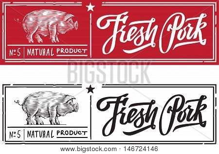 Pork in the form of engraving on label stamp pig with a text stamp and lettering calligraphy. fresh pork. natural product star