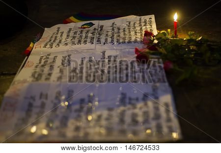 Chiang Mai, Thailand - June 14: Memorial For Orlando Shooting Victims Outside The United States Cons