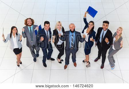 Business People Group Successful Excited Team Top Angle View, Businesspeople Happy Smile With Raised Hands Fists Arms