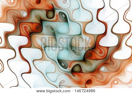 Abstract colorful waves on white background. Fantasy swirly fractal texture in light blue orange and brown colors. Digital art. 3D rendering.