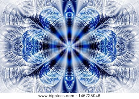 Abstract flower mandala on white background. Intricate symmetrical pattern in blue and black colors. Fantasy fractal design for posters postcards wallpapers or t-shirts. Digital art. 3D rendering.