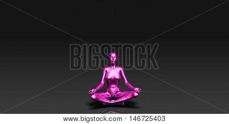 Yoga Class, the Lotus Position Basic Pose Stance 3D Illustration Render