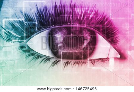 Cybernetic Eye with Futuristic Abstract Background as Art 3D Render