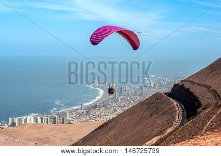 Iquique behind a huge dune northern Chile Tarapaca Region Pacific coast west of the Atacama Desert and the Pampa del Tamarugal