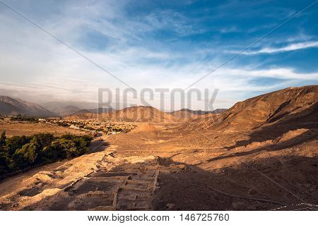 Cahuachi archaeological site in the in the desert of Nazca in Peru