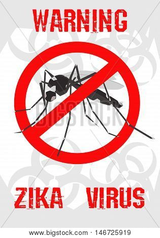 Vector - Caution of mosquito icon, spread of zika and dengue virus