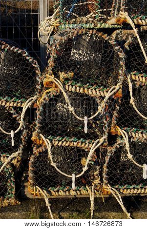 Lobster traps at Peters Port in the Outer Hebrides of Scotland UK