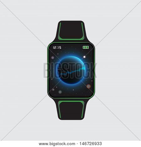 Black smart watch logo with decor. Vector eps10 illustration. Isolated smart watch sign. Smart watch vector symbol. Smart watch.