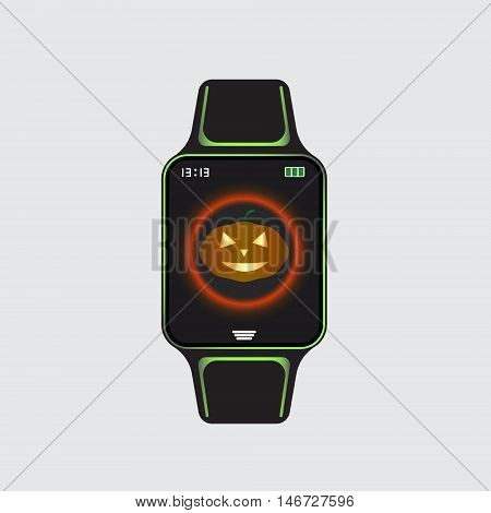Black smart watch logo with halloween decor. Smart watch vector sign. Isolated smart watch symbol. Vector eps10 smart watch icon.
