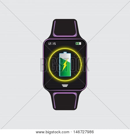 Recharging smart watch vector icon. Smart watch logo. Vector eps10 illustration. Smart watch vector sign.