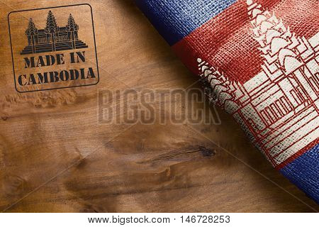 The national flag of the State of Cambodia and the stamp imprint of Made in Cambodia.