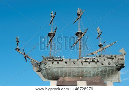 ST. PETERSBURG, RUSSIA - AUGUST 12, 2016: Monument to the battleship Poltava on Voskresenskaya embankment. The battleship was made in St. Petersburg in 1712