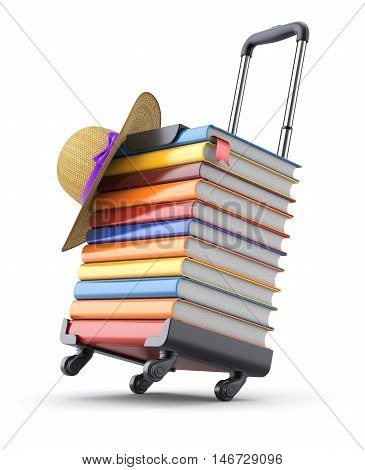 3D concept with books and hat on suitcase frame - 3D illustration