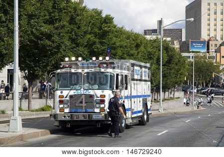 BRONX NEW YORK - AUGUST 21: NYPD emergency service vehicle parked during a Yankee Stadium ball game. Taken August 21 2015 in New York.