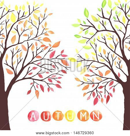 Autumn trees with falling down leaves. Watercolor imitation in vector. Each object is separately, easy to edit.