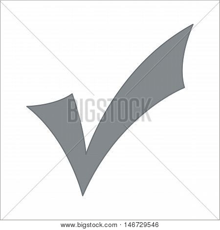 Gray check mark icon isolated on white background
