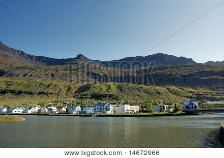 Houses at fjord's