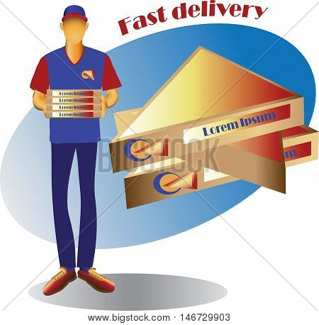 The courier with the goods and the triangular portion of the package. Vector image for advertising, sales and delivery of finished products to order.
