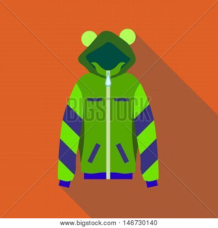 Woman green hoodie icon in flat style isolated with long shadow vector illustration