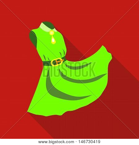 Elegant green dress icon in flat style isolated with long shadow vector illustration