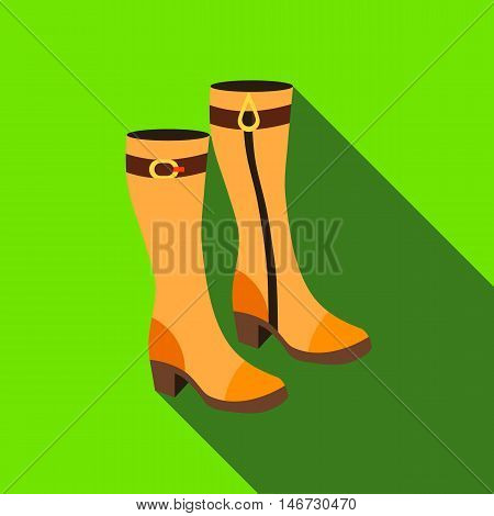 Pair of women autumn boots icon in flat style isolated with long shadow vector illustration