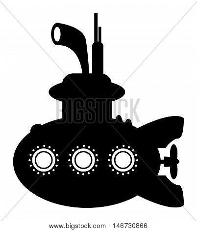 Submarine sign or symbol on white background, vector illustration