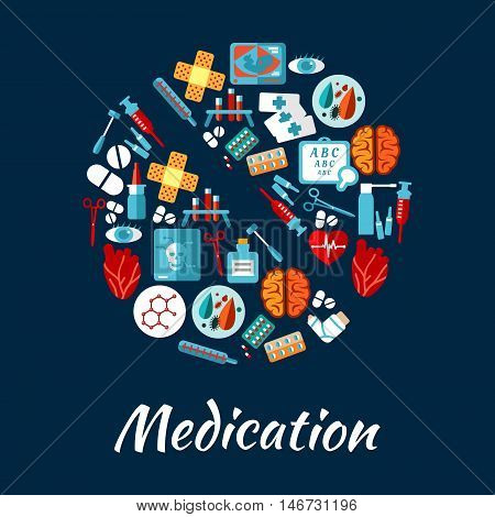 Medication and medical equipment icons in a shape of a pill with syringe, thermometer, drug, heart, brain, eye, blood test tube, skull x-ray, baby ultrasound, instrument and sight test chart